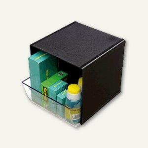 Organiser-System CUBE, 1 Schublade, B 15.2 x H 15.2 x T 18.2 cm, schwarz, 350804