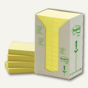 Post-it Haftnotizen Recycling 38 x 51 mm, Karton à 24 Blocks, gelb, 653-1T