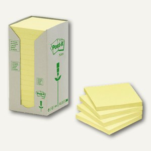 Post-it Haftnotizen Recycling, 76 x 76 mm, Karton à 16 Block, gelb, 654-1T