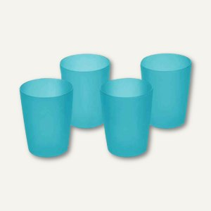 Trinkbecher - 0.25 Liter, PP, (Ø)70 x (H)95 mm, fresh-blue, 4er-Set, 30609632000