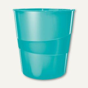 LEITZ Papierkorb WOW - 15 Liter, (H)324 x (Ø)290 mm, eisblau-metallic,5278-10-51