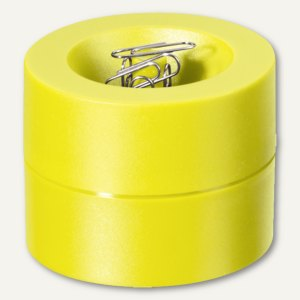 MAUL Klammernspender - (Ø)73 x (H)60 mm, magnetisch, gelb, 3 Stück, 3012313