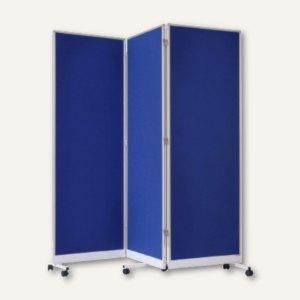 Präsentationspinwand, Filz, Alurahmen, faltbar, Rollen, 181 x 182 x 36 cm, blau,