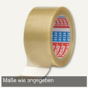 Tesa Klebeband 4124, PVC, 25 mm x 66 m, transparent, 12 Rollen, 04124-00012-00