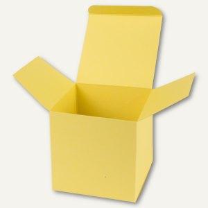 Würfelschachtel / mittel, Karton, 9 x 9 x 9 cm, 350 g/m², hellgelb, 12 St.