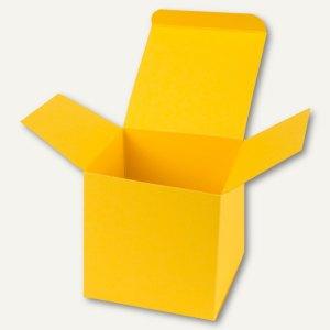 Buntbox Würfelschachtel / mittel, Karton, 9 x 9 x 9 cm, 350 g/m², gelb, 12 St.