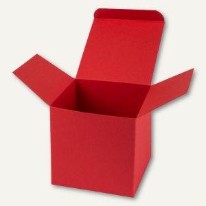 Buntbox Würfelschachtel / mittel, Karton, 9 x 9 x 9 cm, 350 g/m², rot, 12 St.