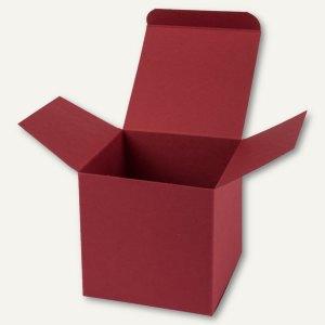 Würfelschachtel / mittel, Karton, 9 x 9 x 9 cm, 350 g/m², dunkelrot, 12 St.