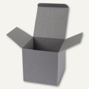 Buntbox Würfelschachtel / mittel, Karton, 9 x 9 x 9 cm, 350 g/m², grau, 12 St.