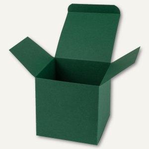 Würfelschachtel / mittel, Karton, 9 x 9 x 9 cm, 350 g/m², dunkelgrün, 12 St.