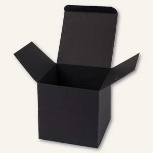 Würfelschachtel / mittel, Karton, 9 x 9 x 9 cm, 350 g/m², schwarz, 12 St.