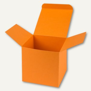 Würfelschachtel / groß, Karton, 14 x 14 x 14 cm, 350 g/m², orange, 12 St.