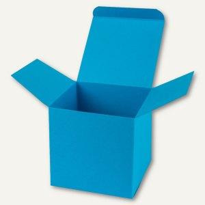 Würfelschachtel / groß, Karton, 14 x 14 x 14 cm, 350 g/m², meerblau, 12 St.