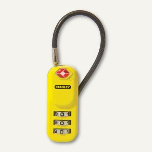 TSA-Zahlengepäckschloss TRAVELMAX, 3-stellig, Stahlkabel, gelb, 81161 393 401