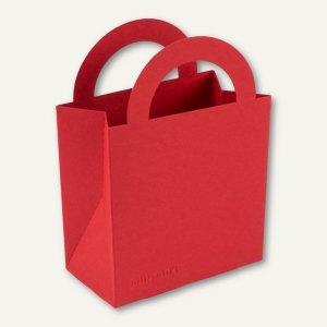 Bunttasche / klein, Karton, Griff, 9.5 x 5.2 x 13.2 cm, 350 g/m², rot, 12 St.
