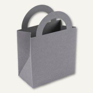 Bunttasche / klein, Karton, Griff, 9.5 x 5.2 x 13.2 cm, 350 g/m², grau, 12 S