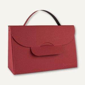 Bunttasche / groß, Karton, Griff, 20.4x8.7x13.2 cm, 565g/m², rot/schwarz, 12St.