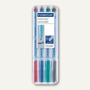 Universalstift Lumocolor correctable 305, non-permanent, 1.0 mm, sort., 4er-Etui