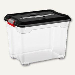 Kunststoffbox Moover / 18 Liter, 265x290x380 mm, PP, Deckel, Griffe, transparent