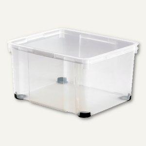 Aufbewahrungsbox / 30 l, 425 x 345 x 256 mm, PS, Griffe, stapelbar, glasklar, 18
