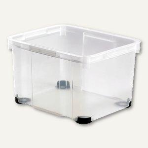 Aufbewahrungsbox / 50 l, 525 x 432 x 280 mm, PS, Griffe, stapelbar, glasklar, 18
