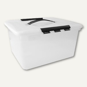 Aufbewahrungsbox / 5 l, 290 x 143 x 201 mm, PS, Griffe, stapelbar, Deckel, glask