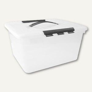 Aufbewahrungsbox / 15 l, 374 x 210 x 280 mm, PS, Griffe, stapelbar, Deckel, glas
