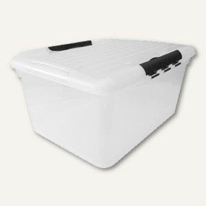 Aufbewahrungsbox / 33 l, 490 x 393 x 257 mm, PS, Griffe, stapelbar, Deckel, glas