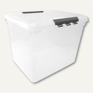 Aufbewahrungsbox / 56 l, 490 x 393 x 381 mm, PS, Griffe, stapelbar, Deckel, glas