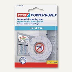 Montageband POWERBOND Universal, doppelseitig, 19 mm x 1.5 m, weiß, 58565-0001-0