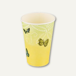 "Papstar Motiv Trinkbecher ""Papillons"", 0.2 l, Ø70 x H97 mm, Pappe, 140 St.,85693"