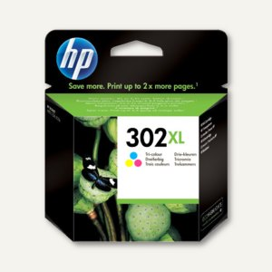 HP Tintenpatrone 302XL, ca. 330 Seiten, 3-farbig, 8 ml, F6U67AE