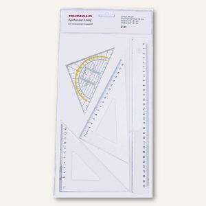 Zeichengarnitur mit Lineal + Geodreieck + Winkel