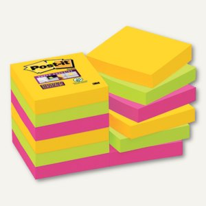 Post-it Super Sticky Notes, 48 x 48 mm, blanko, 3-farbig, 12 x 90 Blatt, 62212SR