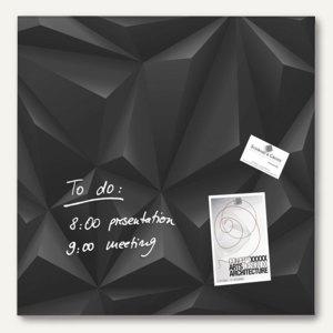 "Sigel Glas-Magnettafel ""artverum"", 480 x 480 mm, 2 Magnete, schwarz, GL257"