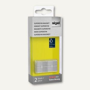 """Sigel SuperDym-Magnete, C10 """"Extra-Strong"""", 20x10x20 mm, silber, 2 Stück, GL704"""