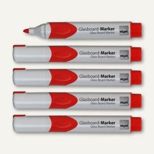 Sigel Glasboardmarker, Rundspitze 2-3 mm, rot, 5er-Pack, GL713