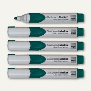 Sigel Glasboardmarker, Rundspitze 2-3 mm, grün, 5er-Pack, GL714