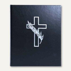 Kondolenzbuch, Kunstleder, 44 Seiten, Deckel mit Kreuz, 21x28 cm, schwarz, 11 37