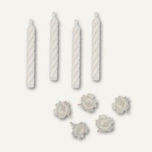Papstar Geburtstagskerzen mit Halter, 6 cm, weiß, 240er-Pack, 85193
