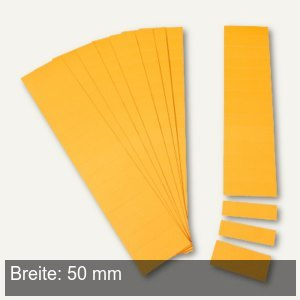 Einsteckkarten für 9.5 mm Magnetschienen, (B)50 x (H)7.5 mm, orange, 420 Stück,