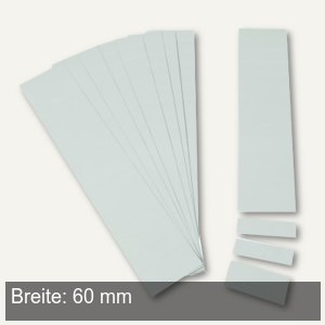 Einsteckkarten für 9.5 mm Magnetschienen, (B)60 x (H)7.5 mm, grau, 420 Stück, 84