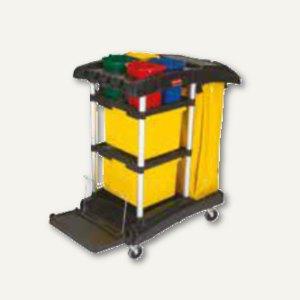 Mikrofaser-Reinigungswagen, 1.226 x 559 x 1.118 mm, PP/Alu, schwarz, FG9T7400BLA