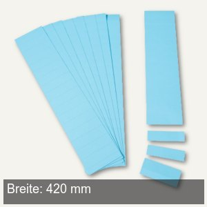 Einsteckkarten für 34 mm Magnetschienen, (B)420 x (H)32 mm, blau, 40 Stück, 8539