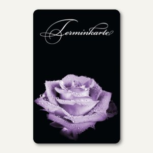 officio Terminkarte LILA ROSE, 6 Termine, 55 x 85 mm, zum Stempeln, 100 Stück