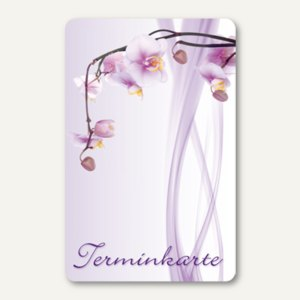 officio Terminkarte ORCHIDEE, 6 Termine, 55 x 85 mm, zum Stempeln, 100 Stück