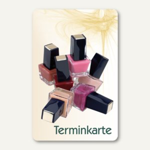 officio Terminkarte NAIL POLISH, 6 Termine, 55 x 85 mm, zum Stempeln, 100 Stück