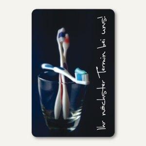 officio Terminkarte ZAHNBÜRSTEN, 6 Termine, 55 x 85 mm, zum Stempeln, 100 Stück