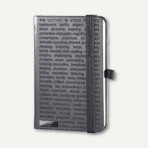 Notizbuch Lanybook - DIN A6, 9 x 14 cm, liniert, 192 Seiten, grau, 9973943