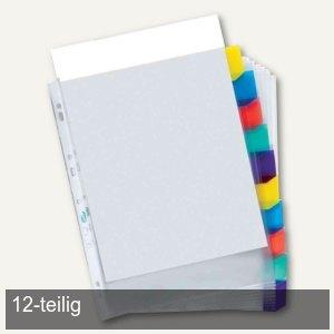 Register-Prospekthülle - DIN A4+, PP, 12-teilig, oben offen, 0.08 mm, farblos, 1